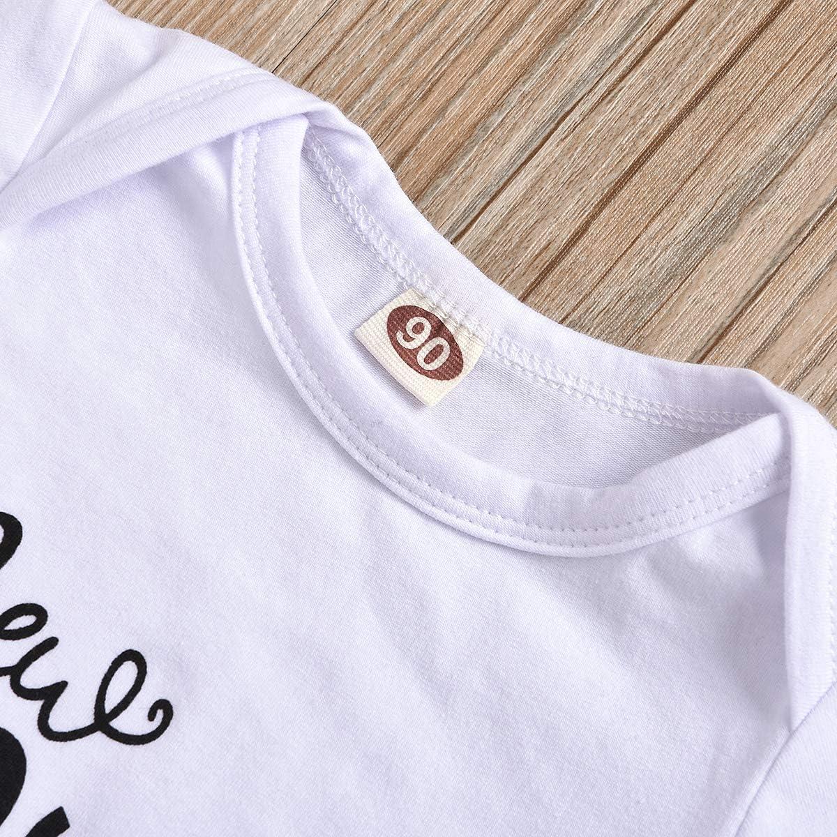 Lamuusaa Newborn Toddler Baby Girl Boy Letter Printed Short Sleeve Romper Bodysuit Pants Hat 3Pcs Summer Outfit