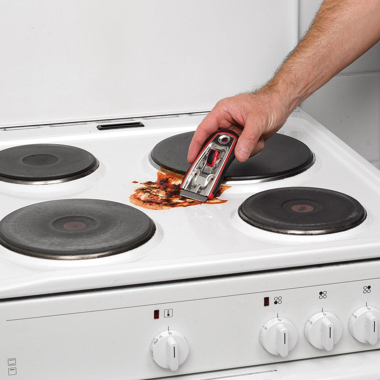 peinture racloir en verre Raclette Grattoir pour plaque de cuisson en verre avec poign/ée souple et 5 lames 18mm KREATOR KRT000603 main racloir