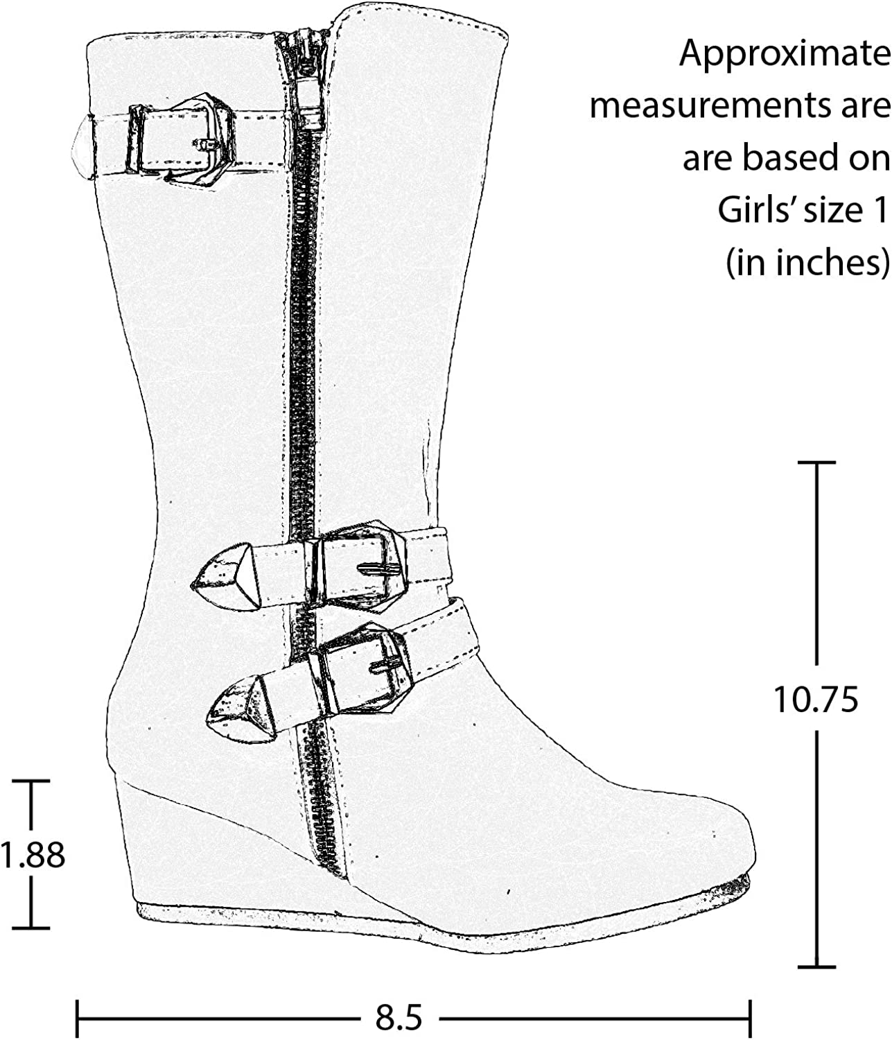 K Stores USA Girls Boots Mid Calf Knee High Wedge Heels Casual Shoes Buckles Zipper KB-211