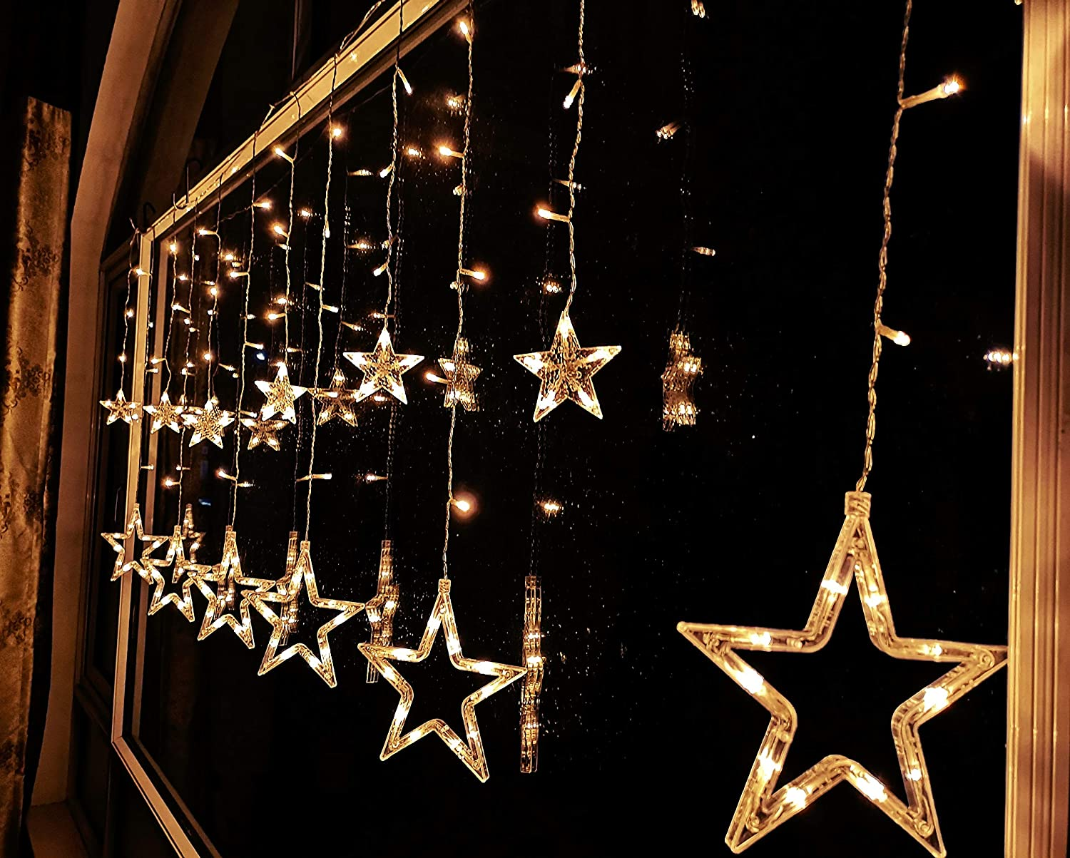 FuChsun Star Icicle String Christmas Lights 138 LED Starry Warm White 6.56 2.95ft Curtain 12 Twinkle Pentagon 7.9 and 3.74inch Waterproof 9.84 Leading for X'Mas Wedding Birthday Party Décor