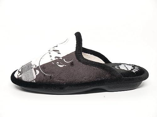 Biorelax Zapatilla Mujer Para Andar Por casa Grenoble Color Negro/Gris - 4776-11