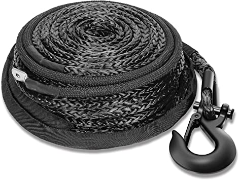 Details about  /Synthetic Winch Rope 3//8 Inch Recovery with Thimble Sleeve Line Winch Cable Rope