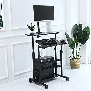 UNICOO- Rolling Laptop Cart, Height Adjustable Sit Stand Workstation, Mobile Standing Desk, Rolling Presentation Cart, Computer Workstation (Black U101)