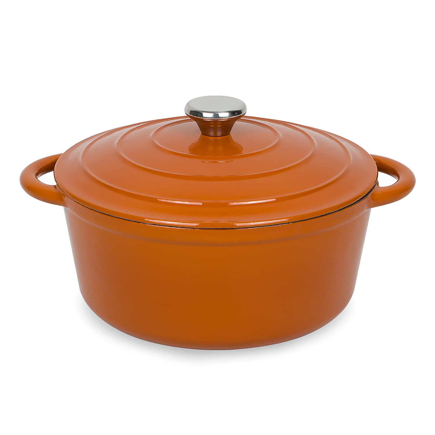 AIDEA Enameled Cast Iron Dutch Oven - 5-Quart Orange Round Ceramic Coated Cookware French Oven with Self Basting Lid