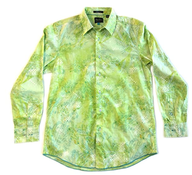 Tommy Bahama Indigo Palms Mens Button Up Shirt Gnome Green Medium