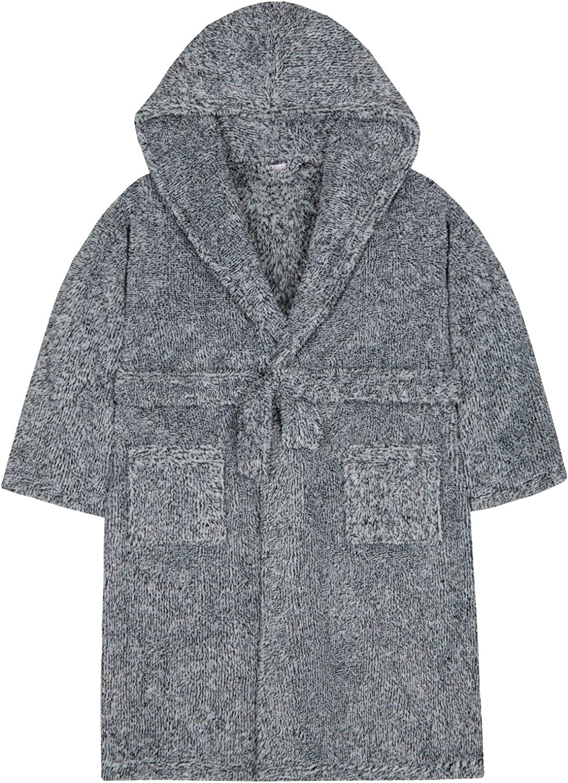 Boys Contrast Trim Plush Snuggle Fleece Dressing Gown Hooded Bath Bed Robe Warm