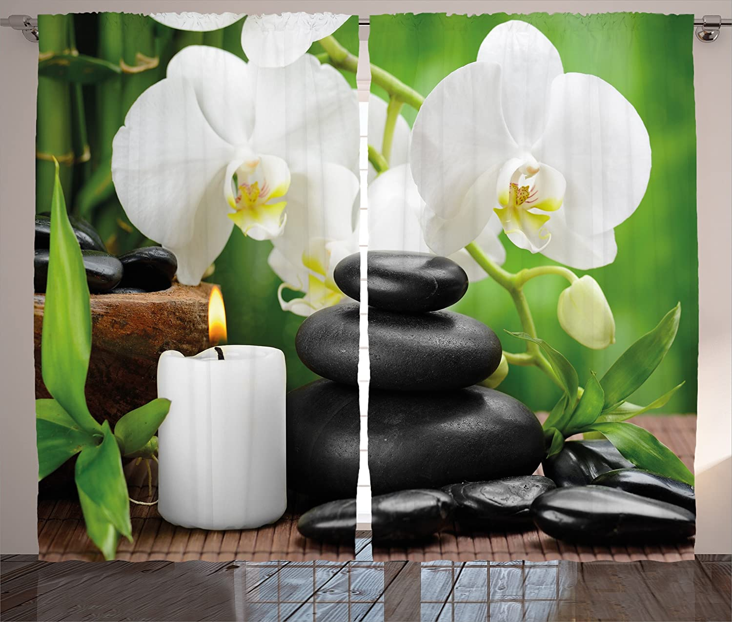 """Ambesonne Spa Curtains, Hot Massage Stones with Orchid Candles and Magnificent Nature Remedies, Living Room Bedroom Window Drapes 2 Panel Set, 108"""" X 84"""", White Black"""