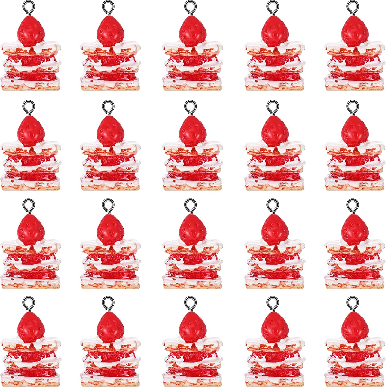 20 Pieces Strawberry Cake Pendant Charms Food Charms Resin Strawberry Cake Charms for DIY Earring Bracelet Necklace Food Charms Jewelry Making Supplies