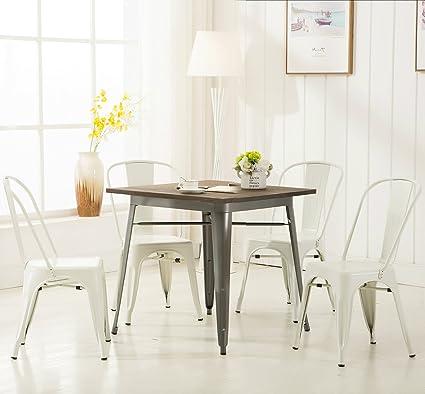 Wondrous Amazon Com Modern Vintage White Metal Stackable Dining Theyellowbook Wood Chair Design Ideas Theyellowbookinfo