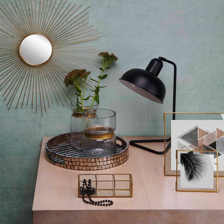 Vase Tendence Verre et Laiton Black Velvet Studio Ancien Color Marron Style Nordique 19x14x14 cm.
