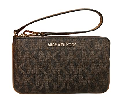 df668e04a01a4e Image Unavailable. Image not available for. Color: Michael Kors Jet Set  Travel Large TZ Wristlet Brown Acorn