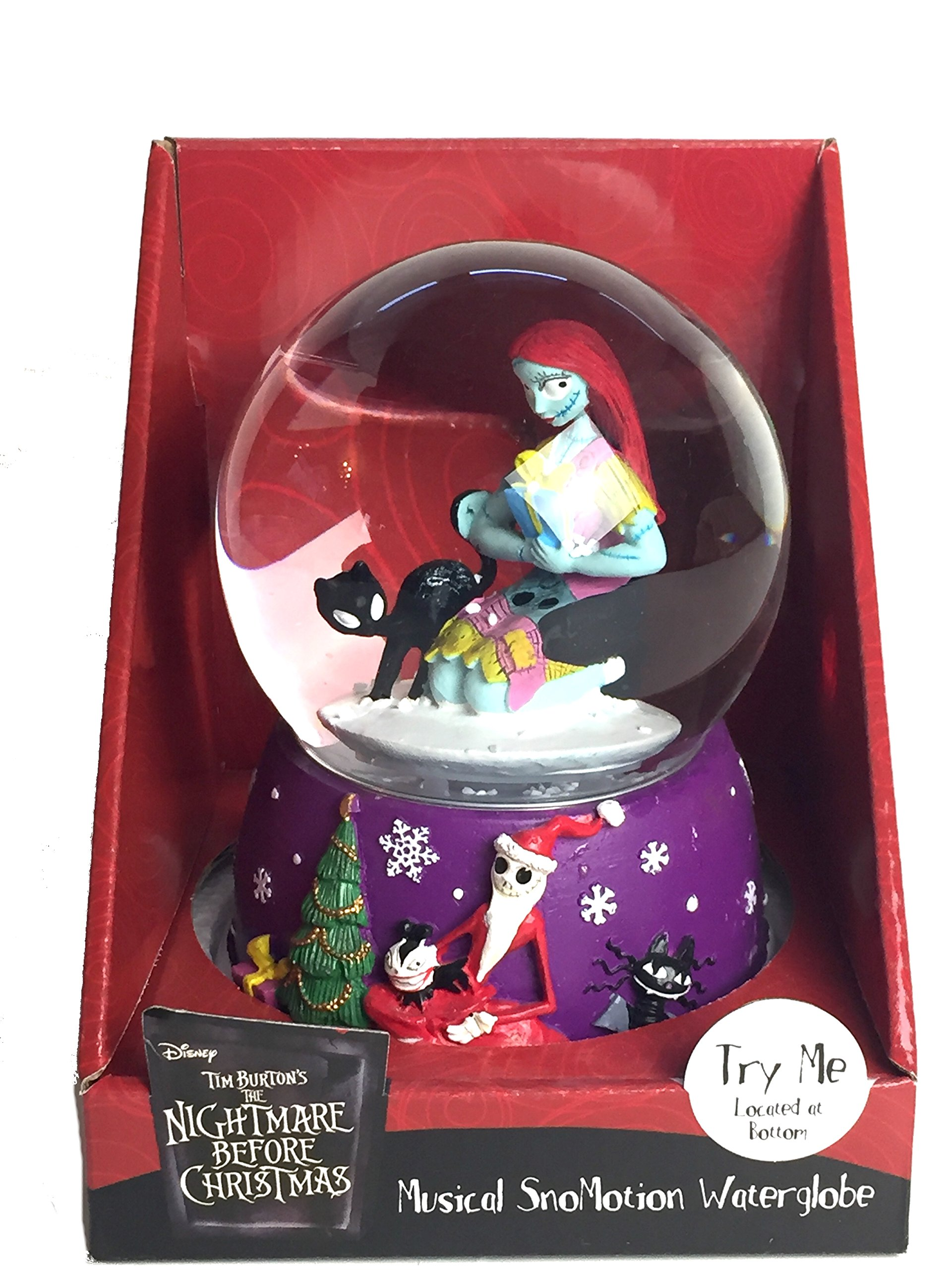 Sally and Black Cat Musical SnoMotion Waterglobe - Nightmare Before Christmas Snowglobe