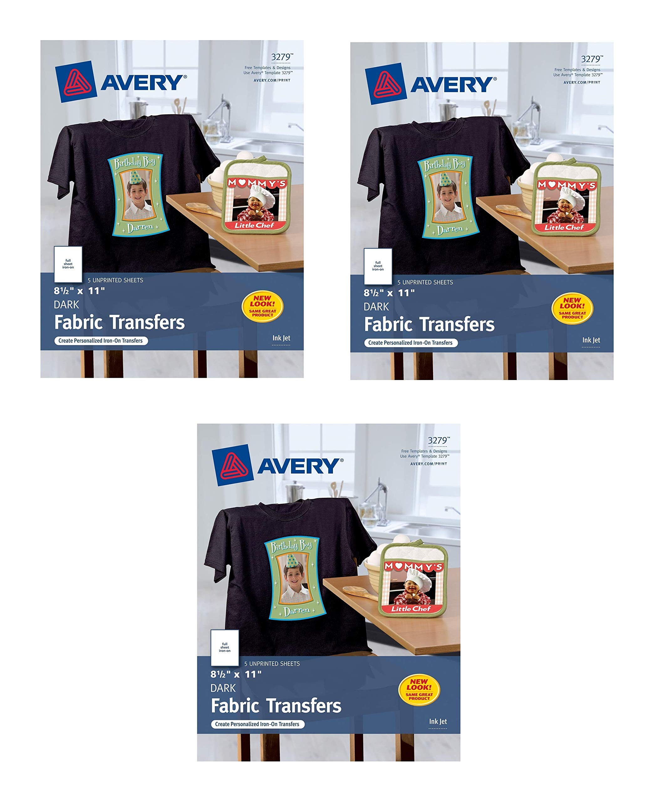 Avery Dark T-Shirt Transfers, Matte, 8.5'' x 11'', 5 Sheets (3279). Sold as 3 Pack, 15 Sheets Total
