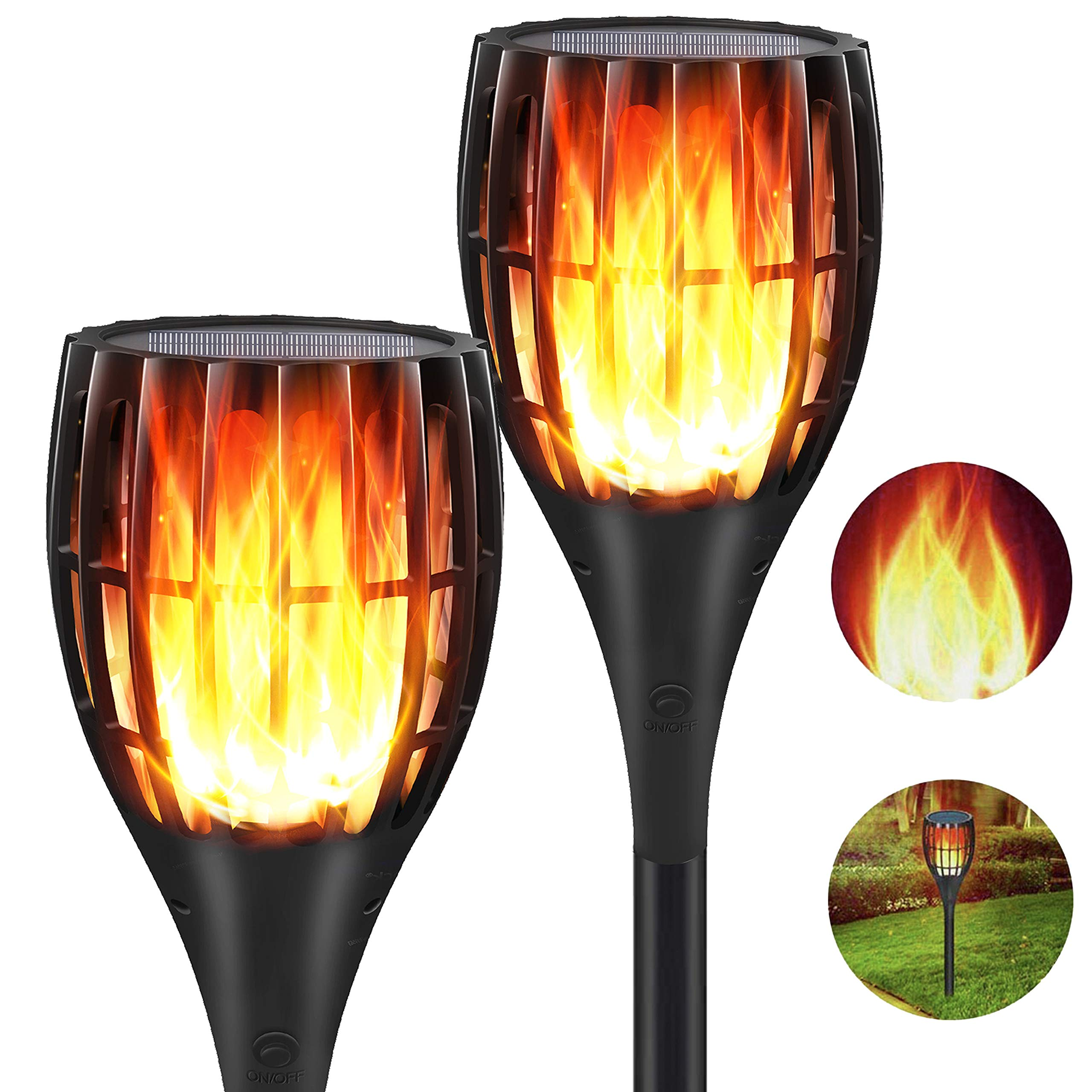 YUJENY Solar Flame Torch Lights Upgraded, Waterproof Dance Flame Lighting Solar Garden Light Outdoor Landscape Decoration Lighting Dusk to Dawn Auto On/Off (2 Pack) by YUJENY