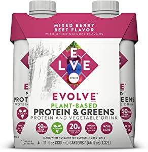 Evolve Plant-Based Protein & Greens, Mixed Berry Beet, 11 Fl Oz (Pack of 12)