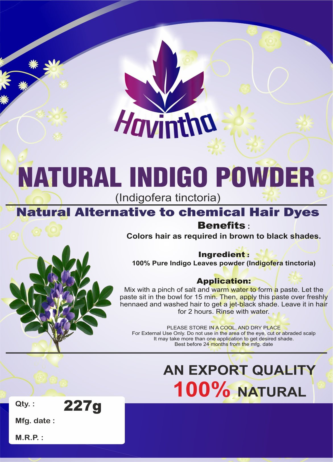 Havintha Natural Indigo Powder for Hair, Indigofera Tinctoria, 227 Grms product image