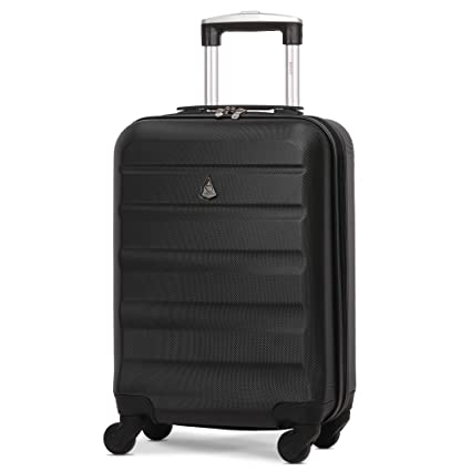 32dd2c1a0 Aerolite Lightweight 55cm Hard Shell 4 Wheel Travel Carry On Hand Cabin  Luggage Suitcase Black Approved for easyJet British Airways Ryanair:  Amazon.co.uk: ...