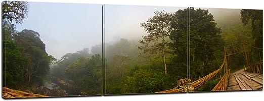Bilderdepot24 Cuadros en Lienzo Panorama Puente en Niebla - Guatemala 90x30 cm 3 Piezas - Enmarcado Listo Bastidor Imagen. Directamente Desde el Fabricante: Amazon.es: Hogar