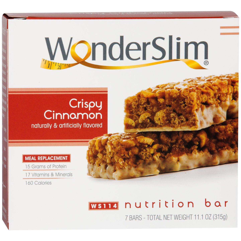 WonderSlim High Protein Meal Replacement Bar - High Fiber, Kosher, Crispy Cinnamon (7 Count)
