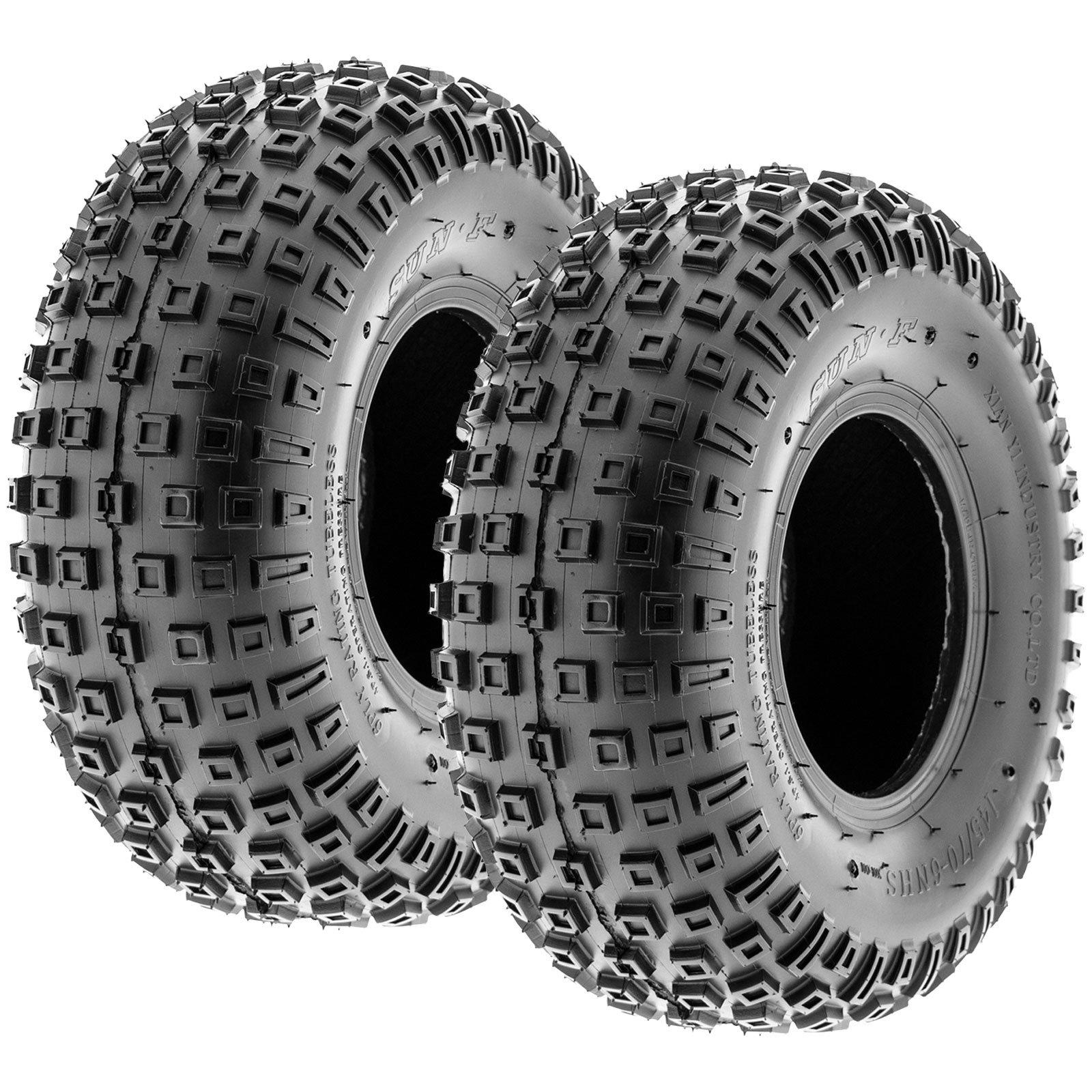 Pair of 2 SunF A011 XC Sport 145/70-6 (17x9-6) ATV Go-Kart Knobby Tires, 6 PR, Tubeless