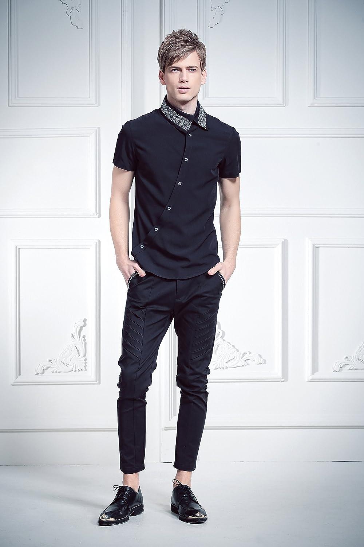 087e016131c94 FANZHUAN Camisa Manga Corta Negra Camisas Hombre Slim Fit Manga Corta Slim  Fit  Amazon.es  Ropa y accesorios