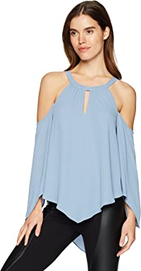 BCBGMAXAZRIA Womens Jax Cold-Shoulder Halter Top