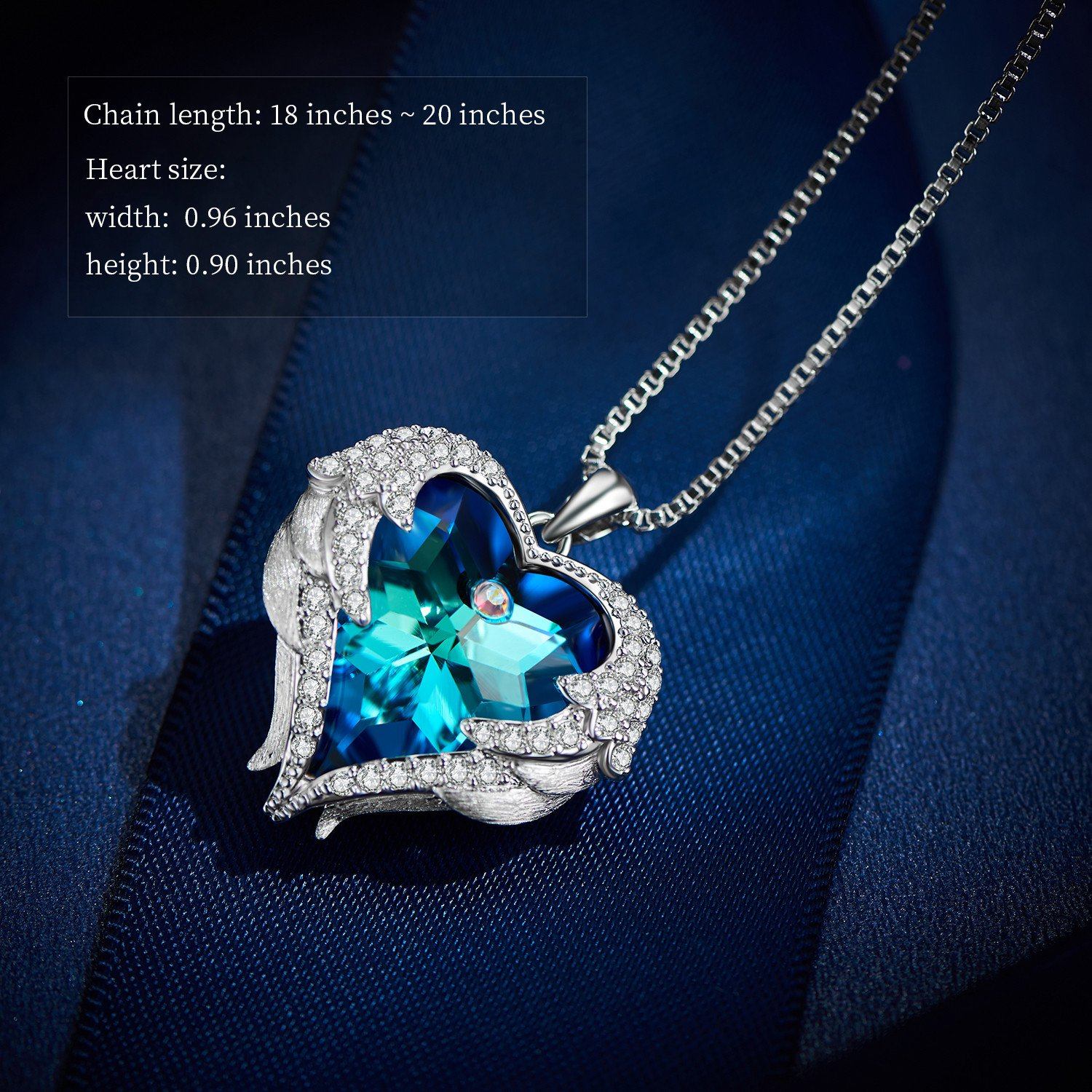 EleShow Love Heart Pendant Necklaces Gifts Jewelry for Women (B_Blue1) by EleShow (Image #5)