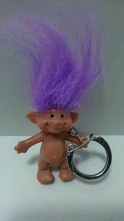 Amazon.com: clásico púrpura Haired Llavero con muñeca Trol ...