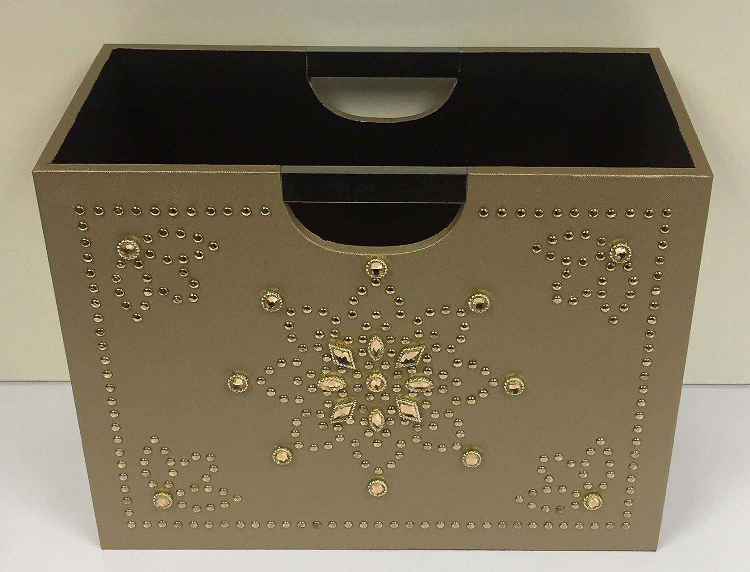 Luxury Gold Magazine Rack Storage Basket - Jewelled Book Magazine Holder MissDish