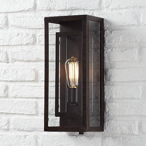 Modern Outdoor Wall Light Fixture Bronze Double Box 15 1/2″ Clear Glass Exterior House Deck