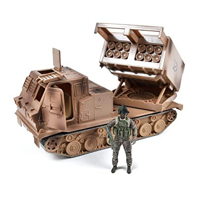 US Army M270A1 Multi Launch Rocket System – Vehicle Playset with Action Figure | Military Toy Missile Launcher Set for Kids – Elite Force: Toys & Games [5Bkhe2002636]