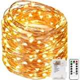Kohree Christmas String Lights Waterproof Fairy Copper Wire Light Remote Control Timer 33FT 100 LED Firefly Lights Battery Operated for Bedroom Wedding Festival Decor