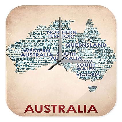 leotie Reloj De Pared Viaje Por El Mundo Australia mapa Plexiglas