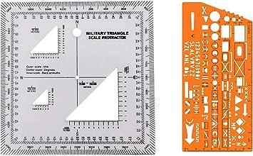 Combo de UTM/MGRS escala coordinada mapa de lectura y navegación por tierra escala de mapas, transportador y cuadrícula coordinada Lector pares con brújula y plantilla con símbolos de marcado militar: Amazon.es: Deportes