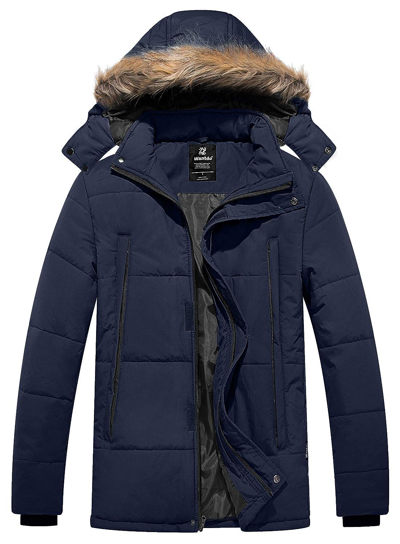 Wantdo Men's Puffer Warm Winter Jacket Heavyweight Windbreaker Quilted Outwear with Removable Hood