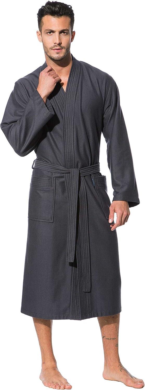 Morgenstern, Bademantel Herren mit Kimonokragen, grau ( dunkelgrau ), leicht