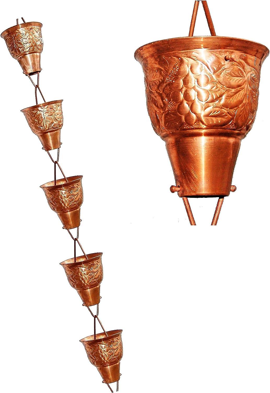 U-nitt 8-1/2 feet Pure Copper Rain Chain for Gutter: Grape Vine Embossed 8.5 ft Length #5502