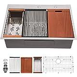 "Drop In Workstation Kitchen Sink - Mocoloo 33""22"" 16 Gauge Stainless Steel Topmount Kitchen Sink with 10"" deep single bowl, B"