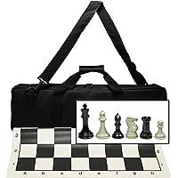 WE Games Ultimate Tournament Juego de ajedrez con Nueva Alfombrilla de ajedrez de Silicona, Bolsa de Lona y Super Triple Peso de ajedrez con 4 Pulgadas King