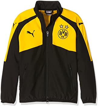 Puma Kinder Jacke BVB Casuals Performance Woven Jacket, black-cyber yellow,  128,