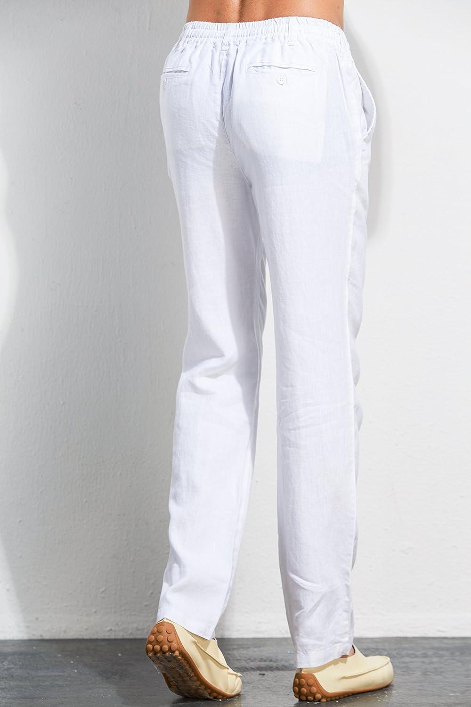 593add4adaf3 UAISI Pantaloni Lino Uomo Puro Pantaloni Lino Uomo Bianchi Casual Pantaloni  Leggeri Estivi: Amazon.it: Abbigliamento