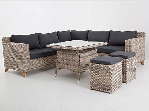 Mesa Grupo de calidad en gris de color marrón Polirratán esquina Lounge Muebles de Jardín Ratán llano Grupo llano Lounge gris jardín Lounge con esquina Banco rinconera mesa y dos taburetes: Amazon.es: