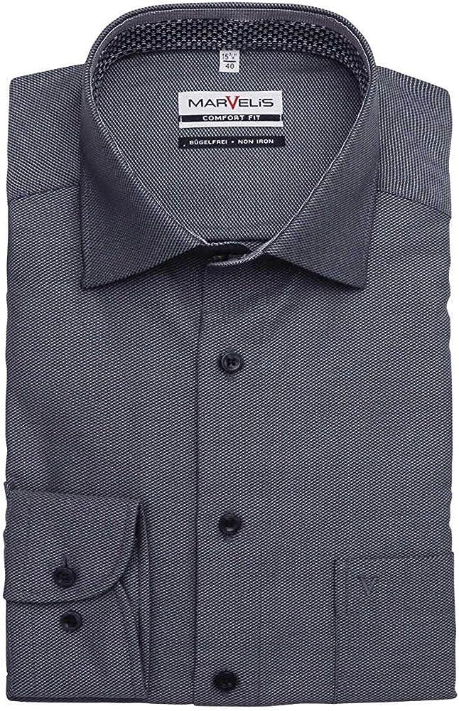 Marvelis Comfort Fit - Camisa de manga larga con cuello New Kent, color antracita Negro 44: Amazon.es: Ropa y accesorios