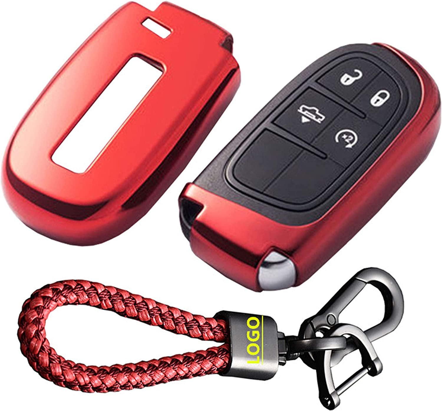 Premium Soft TPU Half Cover Protection Key Fob Cover with Have Logo Key Chain for Jeep//Dodge//Chrysler Smart Remote Keyless Entry Key Case