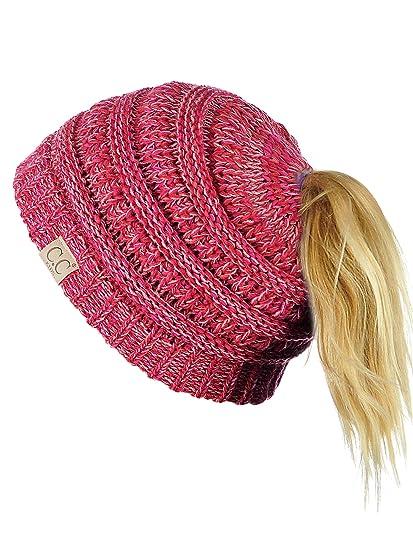 C.C BeanieTail Kids  Children s Soft Cable Knit Messy High Bun Ponytail  Beanie Hat 8ce6b4a04d97