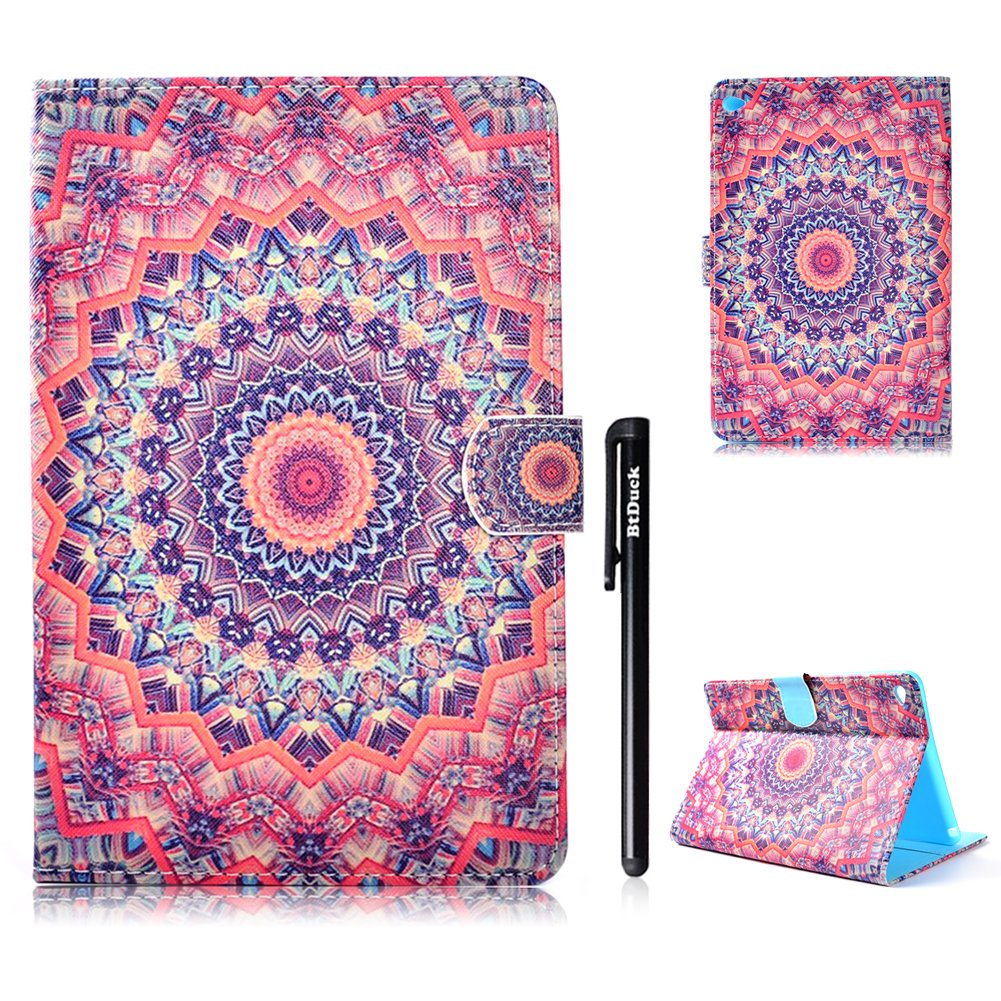 BtDuck Leather Case for Apple iPad Mini 4 Kaleidoscope Mandala Flower Religious Buddhism Flowers Blue Gun Target Shape Clear Elegant Stand Tablet Shell Protector Painted Leather Flip Folio Cover Anti-slip Skin Outdoor Protection Shockproof Anti-scratch Sl