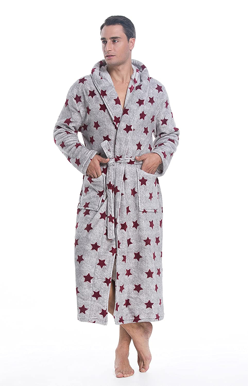 S-Forest Mens Plush Coral Fleece Robe Long Hooded Bathrobe