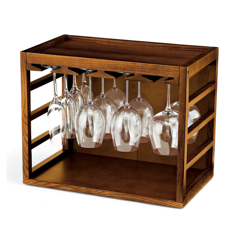 Wine Enthusiast Cube-Stack Wine Glass Rack, Walnut Stain 640 01 02