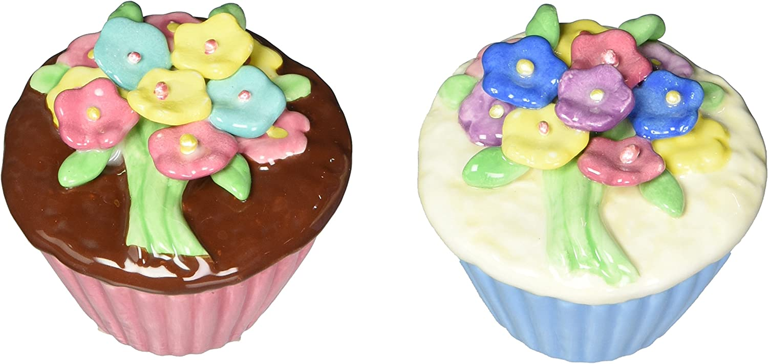 Appletree Design Flower Cupcake Salt and Pepper Set, 2-Inch