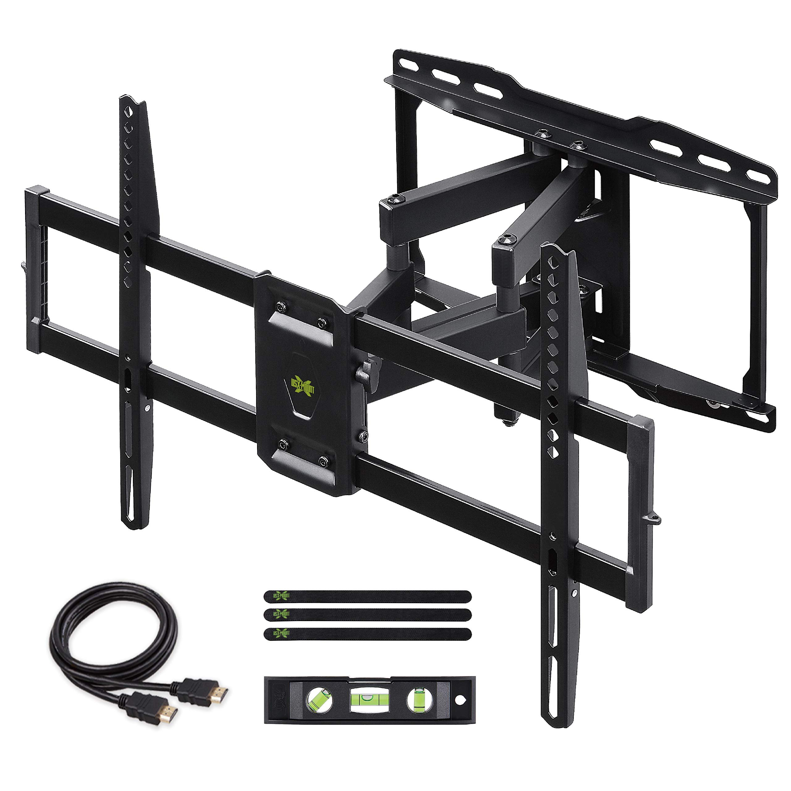 USX MOUNT Full Motion TV Wall Mount Bracket Dual Swivel Articulating Tilt 6 Arms for Most 37-75 inch Flat Screen, LED, 4K TVs, with Max VESA 600x400mm and Fits 12'' 16'' Studs by USX MOUNT